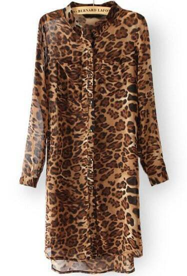 Yellow Stand Collar Leopard High Low Dress