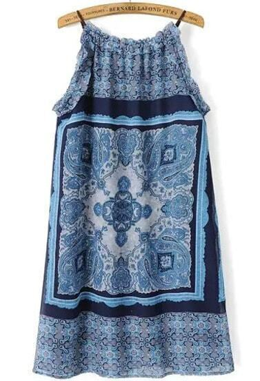 Blue Spaghetti Strap Floral Straight Dress pictures
