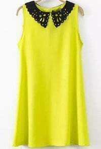 Neon Yellow Contrast Collar Slim Dress