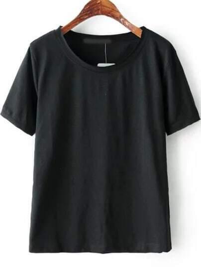 Black Round Neck Short Sleeve Loose T-Shirt