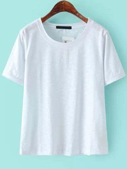White Round Neck Short Sleeve Loose T-Shirt