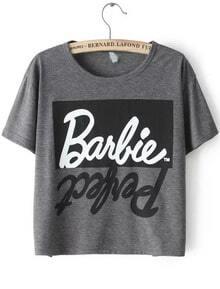 Grey Short Sleeve Letters Print Crop T-Shirt