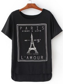 Black Eiffel Tower Print Dip Hem T-Shirt