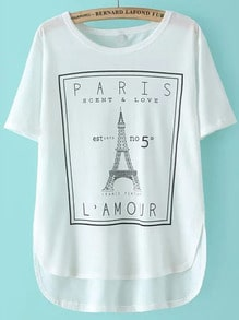 White Eiffel Tower Print Dip Hem T-Shirt
