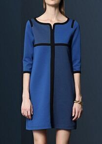 Blue Round Neck Loose Straight Dress