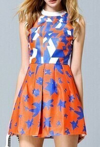 Blue Orange Sleeveless Geometric Print Flare Dress