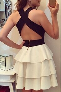 Colour-block Criss Cross Back Tiered Dress