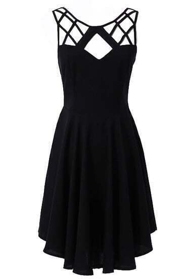 Black Sleeveless Hollow Backless Pleated Dress