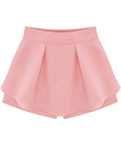 Pink High Waist Ruffle Skirt Shorts -SheIn(Sheinside)