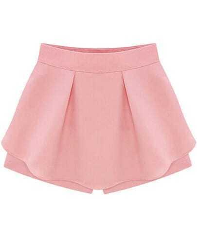 Pink High Waist Ruffle Skirt Shorts