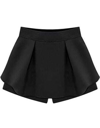 Black High Waist Ruffle Skirt Shorts