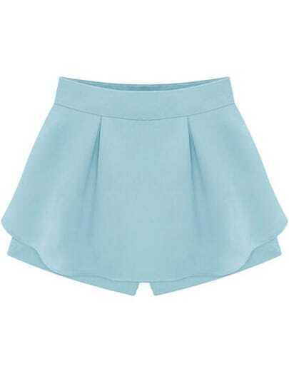 Blue High Waist Ruffle Skirt Shorts