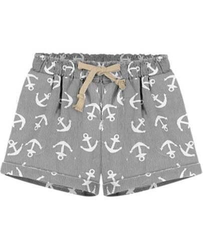 Grey Drawstring Waist Anchors Print Shorts