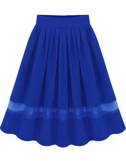 Blue Elastic Waist Pleated Chiffon Skirt