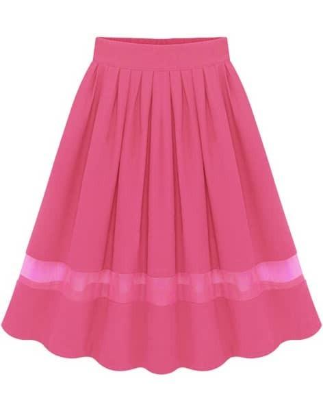 pink elastic waist pleated chiffon skirt shein sheinside
