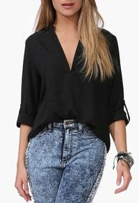 Black V Neck Half Sleeve Chiffon Blouse