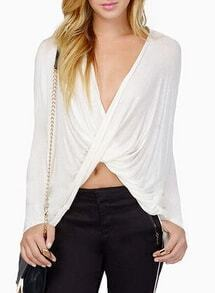 White V Neck Long Sleeve Pleated Blouse