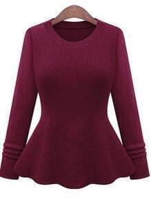 Red Round Neck Ruffle Knit Sweater