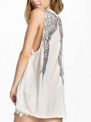 White Round Neck Wing Print Loose Tank Top