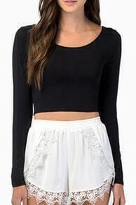 Black Long Sleeve Backless Crop T-Shirt
