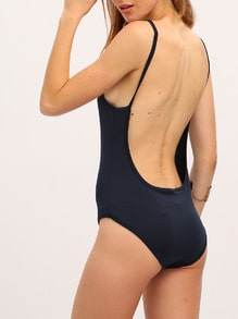 Navy Backless One Piece Swimwear