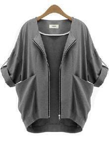 Grey With Pockets Zipper Crop Coat