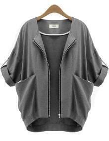 Grey With Pockets Zipper Crop Coat