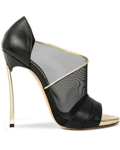 Black Peep Toe With Sheer Mesh High Heeled Shoes