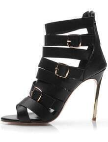 Black With Zipper Buckle High Heeled Shoes