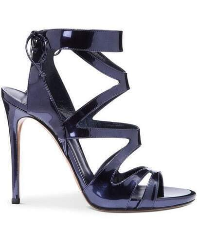 Navy Patent Leather Lace Up High Heeled Sandals