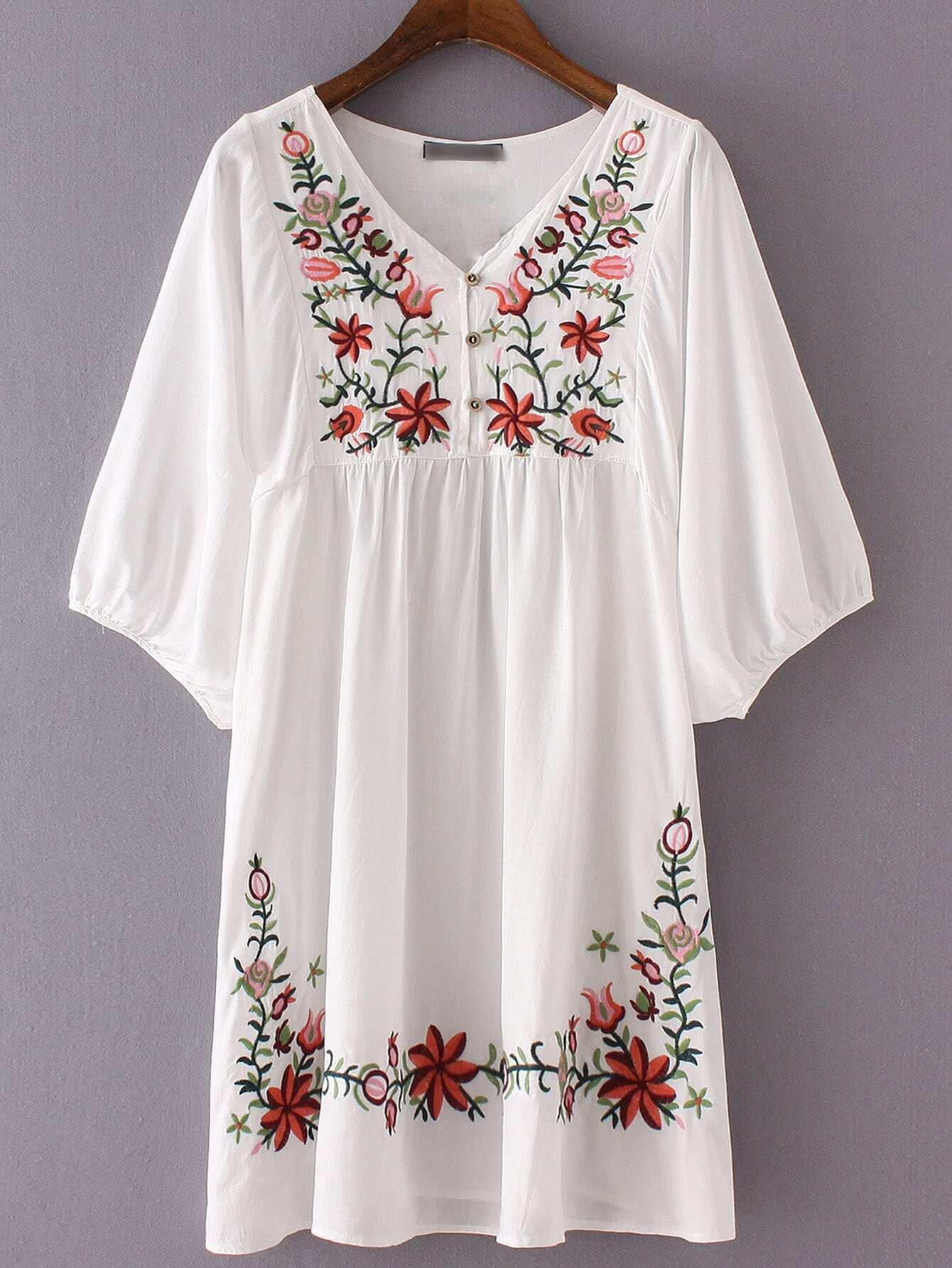 Фото Hibiscus Embroidered Loose Dress. Купить с доставкой