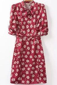 Red Bow Collar Daisy Print Slim Dress