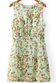 Green Sleeveless Floral Peplum Waist Dress