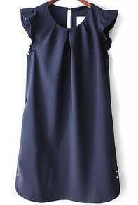 Navy Ruffle Sleeve Metal Buttons Dress