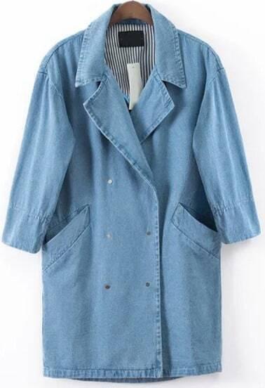 Blue Lapel Half Sleeve Pockets Denim Coat