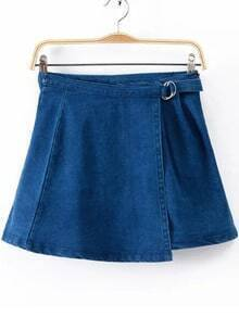 Blue Buckle Denim Skirt