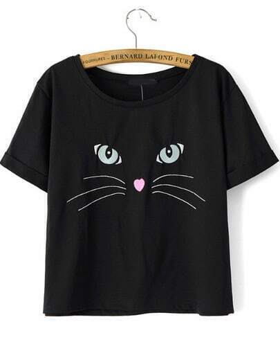 Black Short Sleeve Cat Embroidered T-Shirt