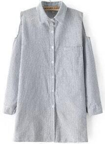 Grey Off the Shoulder Vertical Stripe Blouse