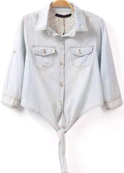 Light Blue Lapel Knotted Crop Denim Blouse