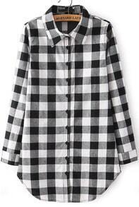 White Lapel Long Sleeve Plaid Loose Blouse