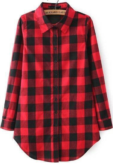Red Lapel Long Sleeve Checker Plaid Checkered Loose Blouse