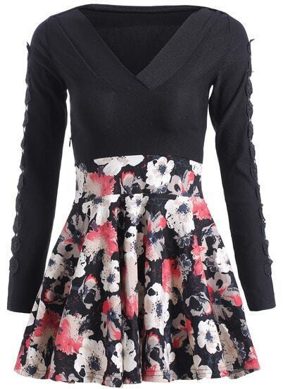 Black V Neck Long Sleeve Floral Flare Dress