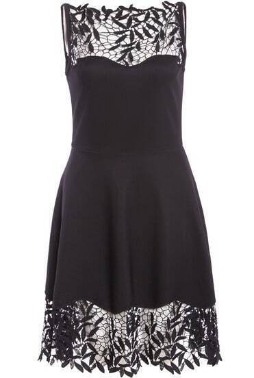 Black Sleeveless Leaves Embroidered Lace Dress