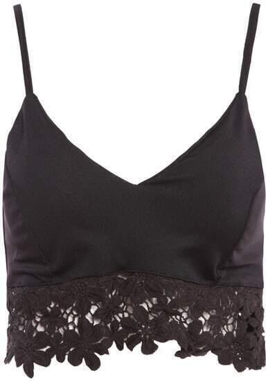 Black Spaghetti Strap Lace Vest