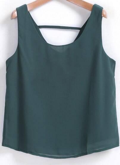 Green Sleeveless Loose Chiffon Tank Top