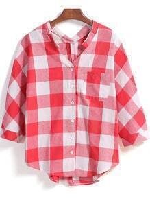 Red V Neck Checkerboard Plaid Pocket Loose Blouse