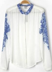 White Lapel Long Sleeve Floral Blouse