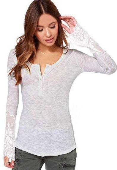 White Long Sleeve Lace Slim T-Shirts