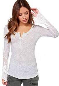 White Long Sleeve Lace Slim Blouse
