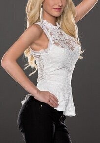White Sleeveless Floral Crochet Lace Blouse